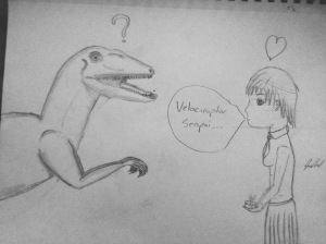 Surprisingly, this is the only image of a velociraptor as the Senpai you will find.